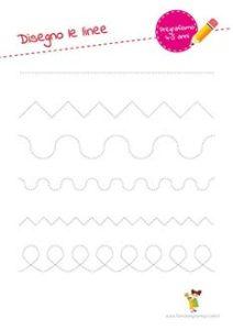 Schede ed esercizi di pregrafismo: linee rette e curve