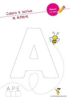 A lettera dell'alfabeto in stampatello maiuscolo da colorare