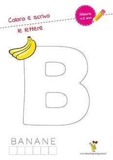 B lettera dell'alfabeto in stampatello maiuscolo da colorare