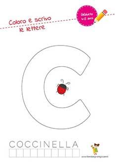 C lettera dell'alfabeto in stampatello maiuscolo da colorare