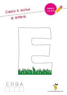 E lettera dell'alfabeto in stampatello maiuscolo da colorare