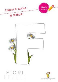 F lettera dell'alfabeto in stampatello maiuscolo da colorare