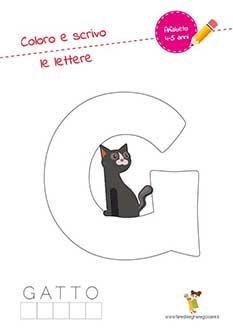 G lettera dell'alfabeto in stampatello maiuscolo da colorare