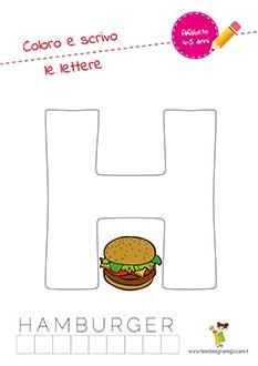 H lettera dell'alfabeto in stampatello maiuscolo da colorare