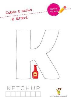 K lettera dell'alfabeto in stampatello maiuscolo da colorare