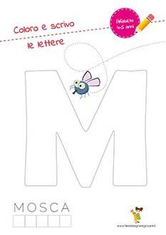 M lettera dell'alfabeto in stampatello maiuscolo da colorare