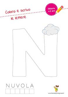 N lettera dell'alfabeto in stampatello maiuscolo da colorare