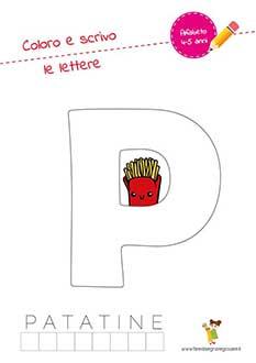 P lettera dell'alfabeto in stampatello maiuscolo da colorare