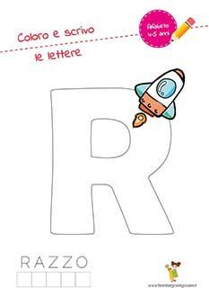 R lettera dell'alfabeto in stampatello maiuscolo da colorare