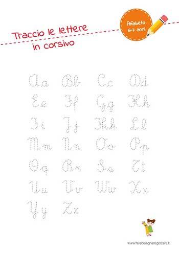 Alfabetiere in corsivo completo da tracciare