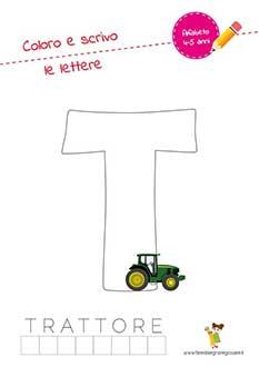 T lettera dell'alfabeto in stampatello maiuscolo da colorare