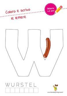 W lettera dell'alfabeto in stampatello maiuscolo da colorare