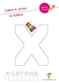 X lettera dell'alfabeto in stampatello maiuscolo da colorare