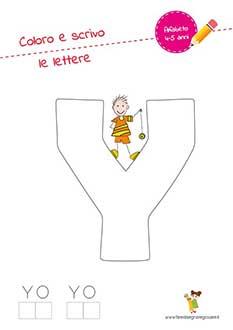 Y lettera dell'alfabeto in stampatello maiuscolo da colorare