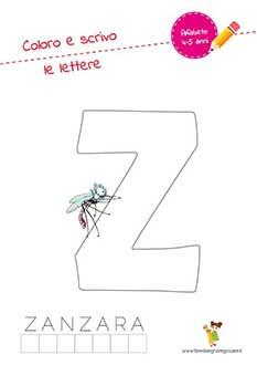Z lettera dell'alfabeto in stampatello maiuscolo da colorare