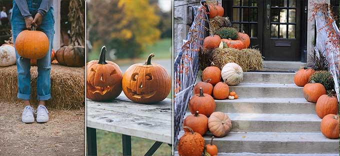 Halloween decorazioni casa e zucca intagliata