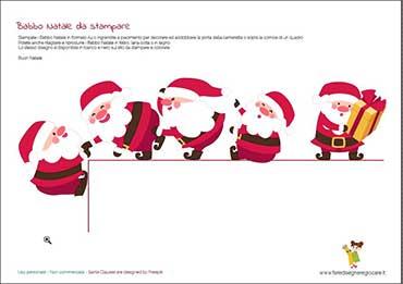 Disegno Babbo Natale divertenti in fila colorati