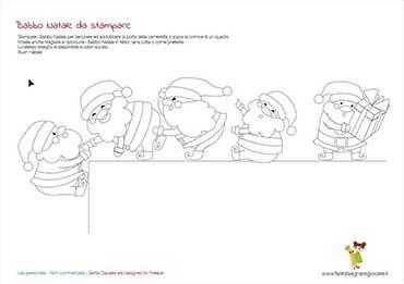 Disegno Babbo Natale divertenti in fila da colorare