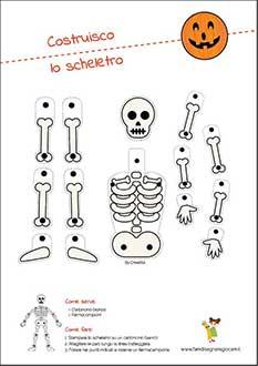 Disegno di Halloween scheletro parti corpo umano da montare per bambini