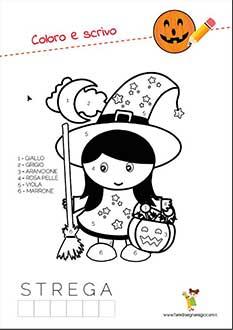 Disegno di Halloween da colorare della strega da contare i numeri