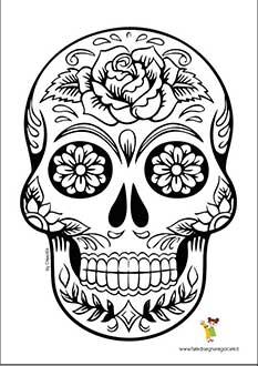 Disegno di Halloween da colorare teschio messicano