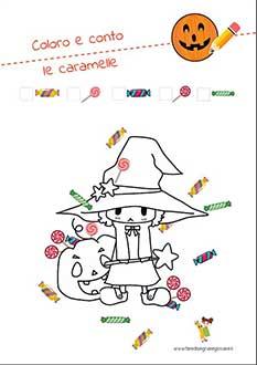 Disegno di Halloween da colorare e contare le caramelle