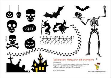 Decorazione e sagome di Halloween da stampare