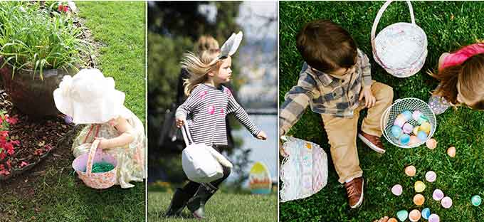 caccia alle uova con i bambini a Pasqua
