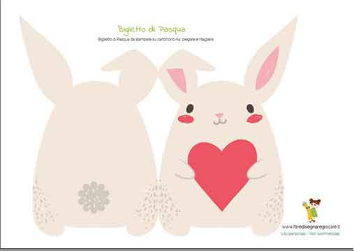 biglietto di Pasqua coniglietto da stampare gratis