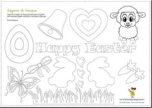 Sagome, silhouette di Pasqua da stampare per fare lavoretto