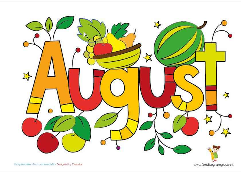 August, Agosto disegno in inglese mese estate da stampare