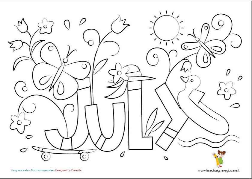 July, Luglio scritta in inglese mese estate da colorare