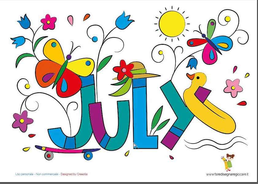 July, Giugno scritta in inglese mese estate da stampare