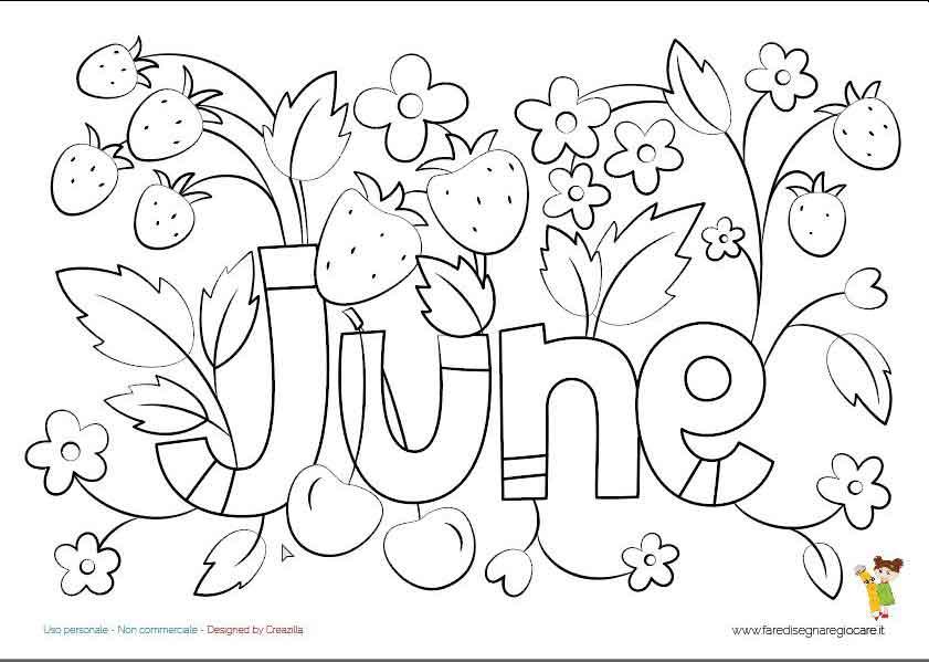 June, Giugno scritta in inglese mese estate da colorare