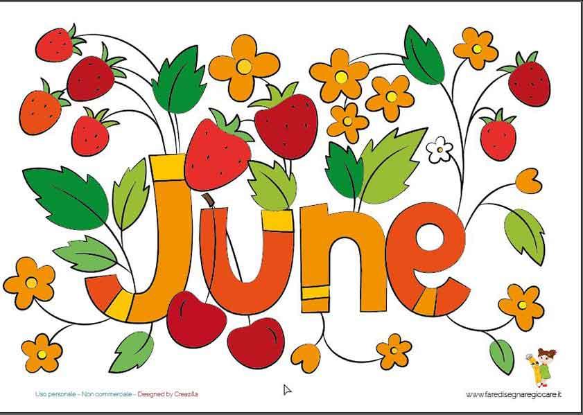 June, Giugno scritta in inglese mese estate da stampare