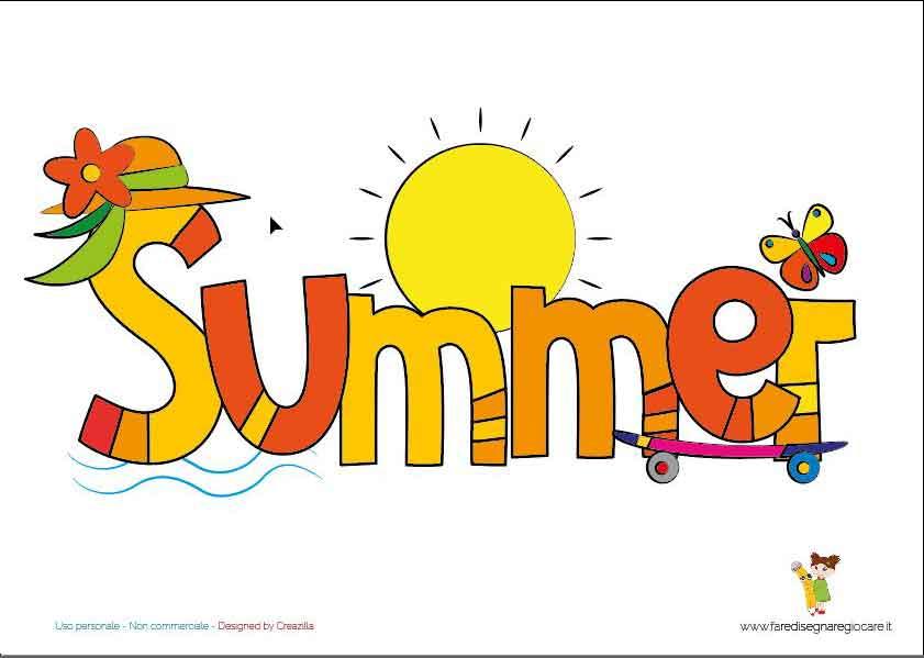Summer scritta in inglese stagione estate da stampare