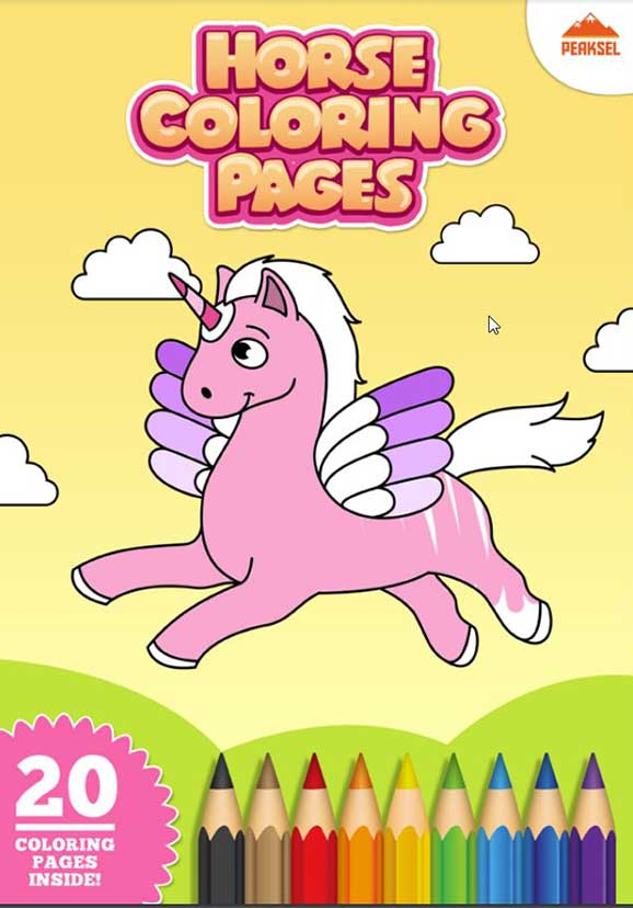 Album cavalli, pony, unicorni da colorare e stampare per bambini